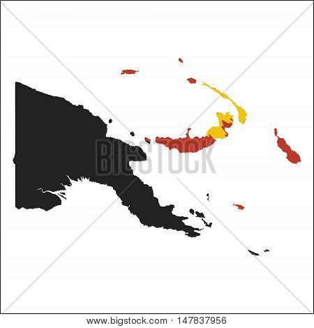 Papua New Guinea High Resolution Map With National Flag. Flag Of The Country Overlaid On Detailed Ou
