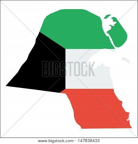 Kuwait High Resolution Map With National Flag. Flag Of The Country Overlaid On Detailed Outline Map