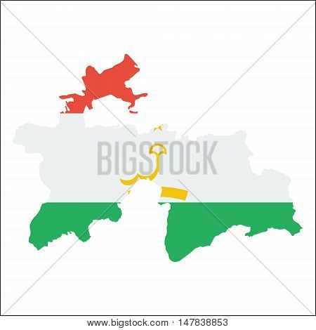 Tajikistan High Resolution Map With National Flag. Flag Of The Country Overlaid On Detailed Outline