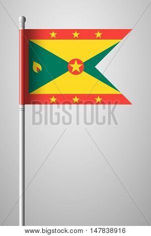 Flag Of Grenada. National Flag On Flagpole