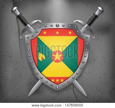 Flag Of Grenada. The Shield Has Flag Illustration. Vector Medieval Background