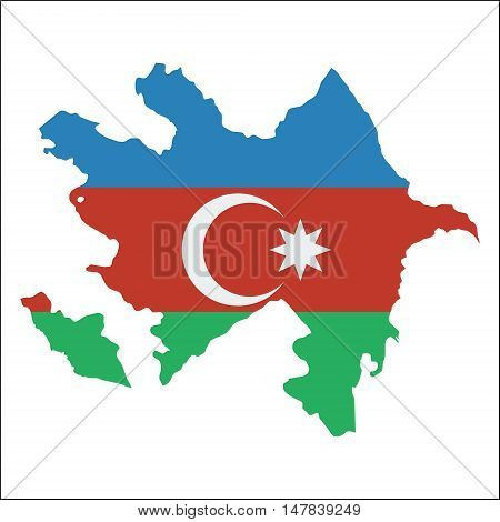 Azerbaijan High Resolution Map With National Flag. Flag Of The Country Overlaid On Detailed Outline