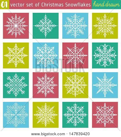 Set with snowflakes line stile over color backgrounds vector illustration