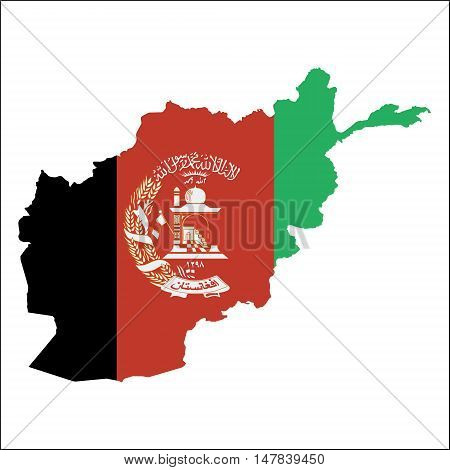 Afghanistan High Resolution Map With National Flag. Flag Of The Country Overlaid On Detailed Outline