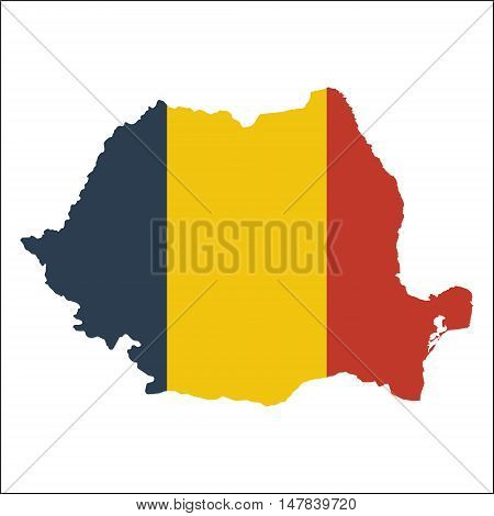 Romania High Resolution Map With National Flag. Flag Of The Country Overlaid On Detailed Outline Map