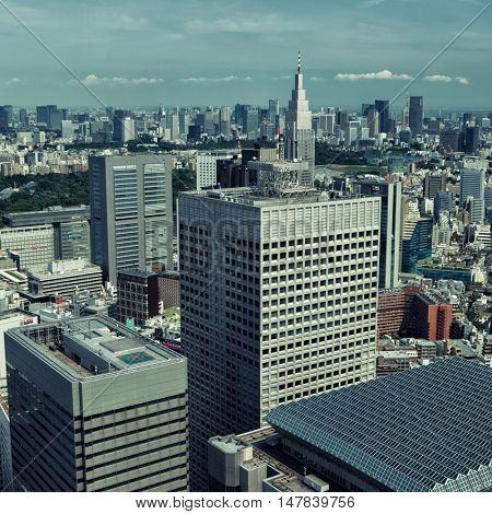 Tokyo aerial city view. Shinjuku 2016.