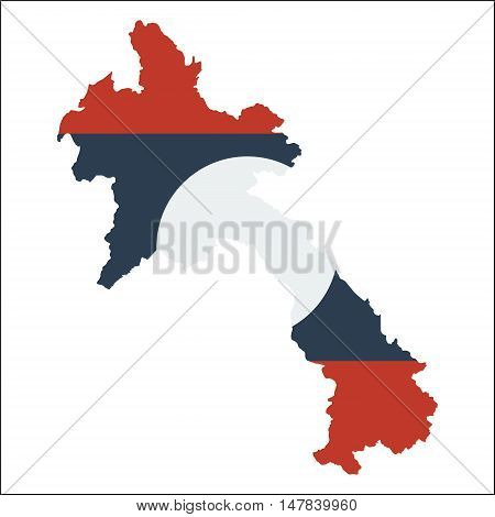 Lao People's Democratic Republic High Resolution Map With National Flag. Flag Of The Country Overlai