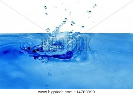 isolated blue drops are falling down and impact with liquid surface