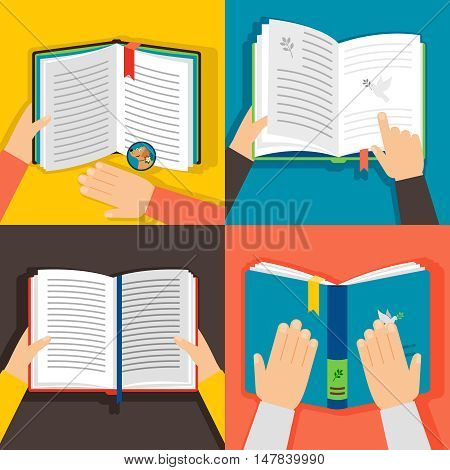 Hands holding books. Vintage paper book library vector illustration