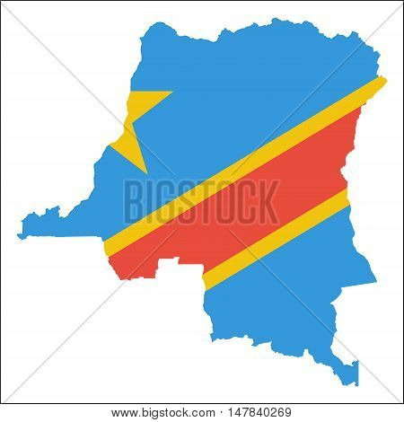 Congo, The Democratic Republic Of The High Resolution Map With National Flag. Flag Of The Country Ov