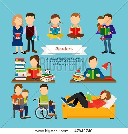 Group of men with books. People characters reading book or magazines set vector illustration in flat style