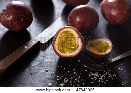 Passion fruits. Passion fruit with dark background.