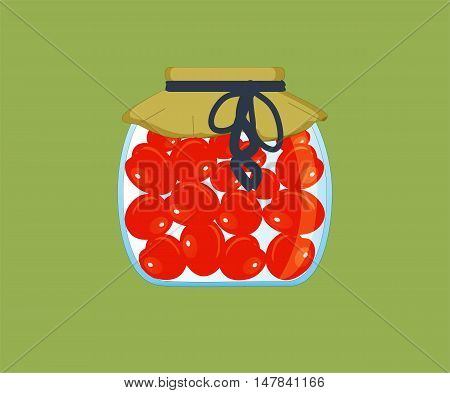 Preserved red tomatoes in a glass jar with mustard lining, tied with a blue ribbon on a green background. Vector illustration