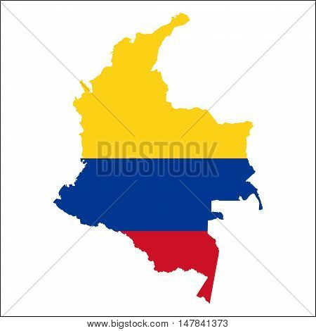 Colombia High Resolution Map With National Flag. Flag Of The Country Overlaid On Detailed Outline Ma