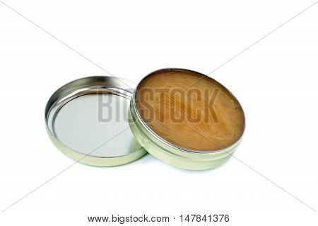 Can of handball wax isolated on white
