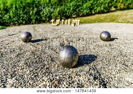 Metal Balls For Petanque On The Ground