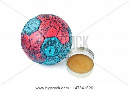 Handball resin and ball isolated on white