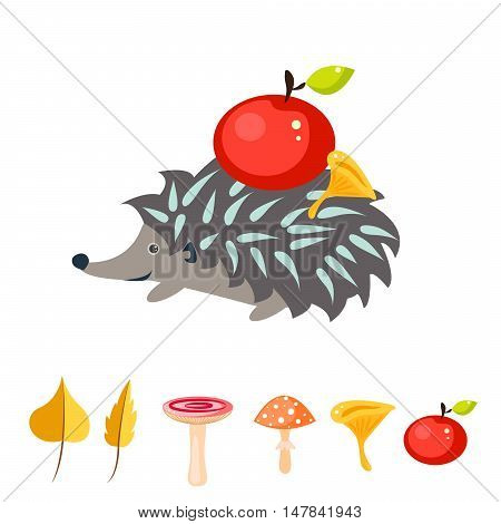 Cartoon hedgehog with red apple on his back. Mushrooms and autumn leaves vector. Gray urchin.