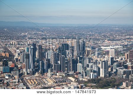 Aerial view of Modern building in Melbourne city Melbourne is the capital and most populous city in the Australian state of Victoria Australia