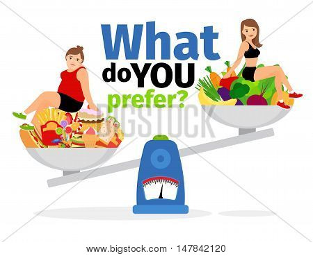 Overweight woman, unhealthy food and healthy vegan eating slim girl on scales vector illustration
