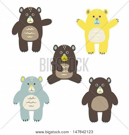 Set of fun cartoon vector bears for kids. Happy child brown, yellow and blue bears for cards, textile, apparel.