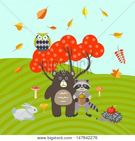 Forest animals on autumn meadow vector illustration. Bear, raccoon, bunny and hedgehog. Owl on a red fall tree.