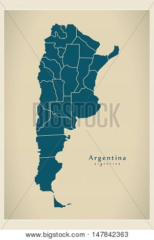 Modern Map - Argentina with regions AR