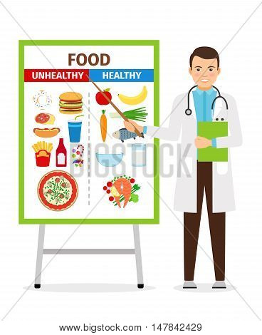 Nutritionist vector illustration. Doctor shows poster about dietetic healthy and unhealthy food