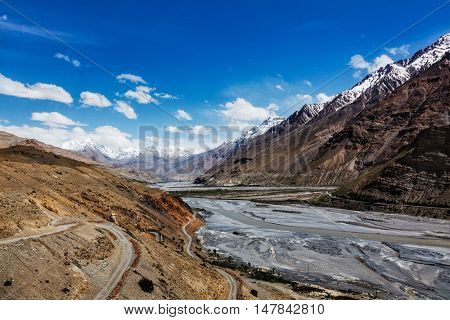Travel Himalayas background - Spiti Valley in Himalayas. Himachal Pradesh, India