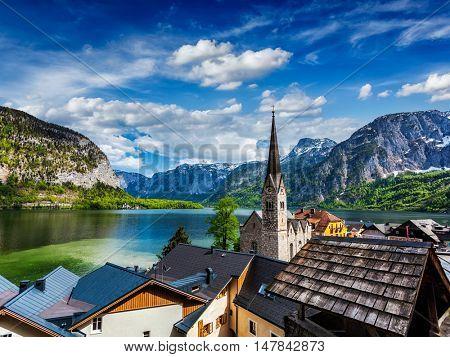 Austrian tourist destination Hallstatt village on  Hallstatter See in Austrian alps. Salzkammergut region, Austria