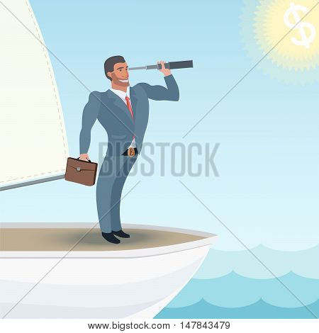 strong man in a business suit standing on a ship and watching forward very brave
