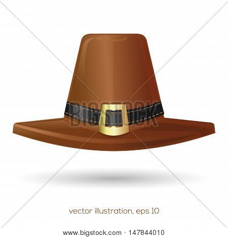 Brown pilgrim's hat with a black stitched buckle. Thanksgiving symbol. Vector illustration