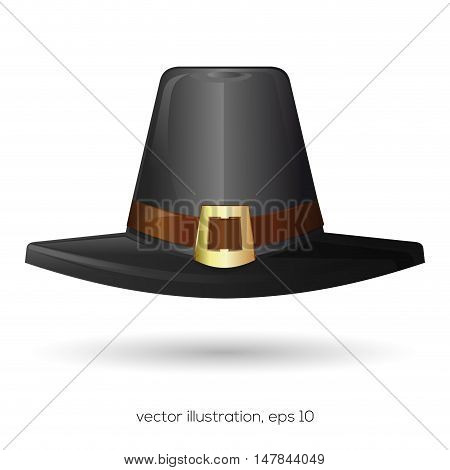 Black pilgrim hat. Thanksgiving symbol. Vector illustration