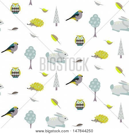 Blue bunny, green hedgehog forest seamless pattern. Blue trees and owl birds on white background.