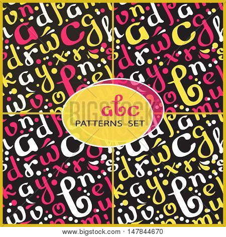 Seamless patterns set with handwritten alphabet. White, pink and yellow letters on black background.