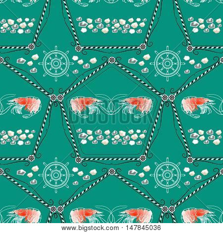 Seamless pattern  with shrimps and nautical accessories on aquamarine background. Vector  marine ornament.