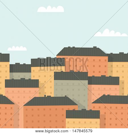 Panorama of the town. Seamless background.