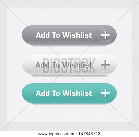 Add to wishlist. Vector web interface buttons set.