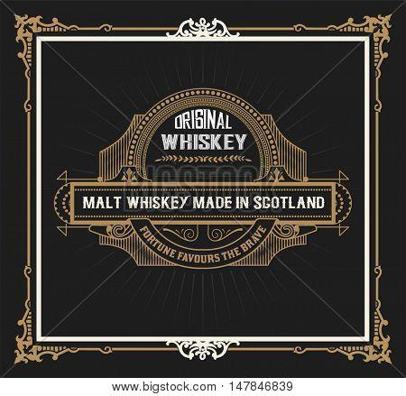 Vintage label design for Whiskey Vector illustration