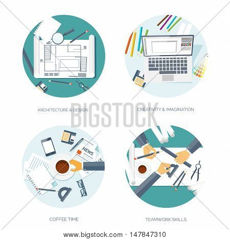 Vector illustration. Flat architectural project. Teamwork. Building, planning. Construction. Pencil. Architecture, design.