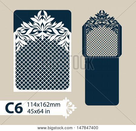 Template congratulatory envelope with carved openwork pattern. Template is suitable for greeting cards invitations menus etc. Picture suitable for laser cutting or printing. Vector