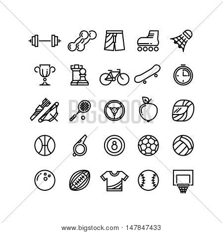 Sports outline symbols sports equipment thin line icons. Archery and badminton, football and basketball, vector illustration