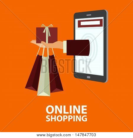 Hand delivers shopping bags with the purchased goods and gift box out from mobile phone. E-commerce internet shopping. Buying concept in flat style. Vector illustration easy to edit