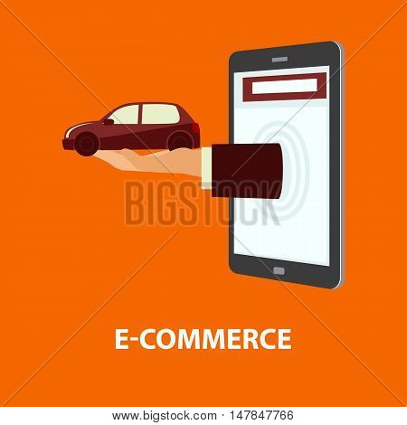 Hand delivers automobile out from monitor mobile phone or tablet. E-commerce online shopping internet buying purchase and rental property concept. Vector illustration in flat style easy to edit