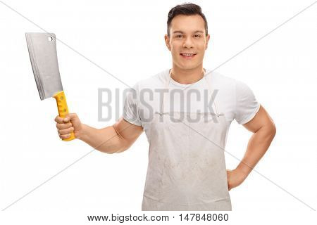 Young butcher holding a cleaver isolated on white background