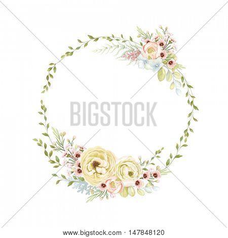 Wreath of tender flowers Ranunculus, little flowers and leaves. Vector illustration in vintage style.