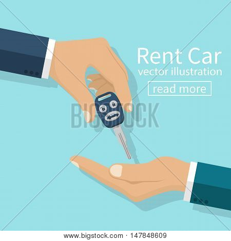 Rent car concept. Agent man gives key to businessman client. Vector illustration flat design. Isolated on background. Buy rent a vehicle. Shopping dealer gives customer keys.