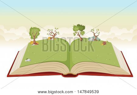 Open book with green park. Nature landscape with grass and trees.