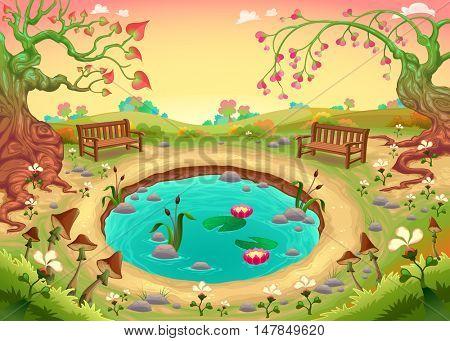 Romantic scene in the park. Vector fantasy illustration
