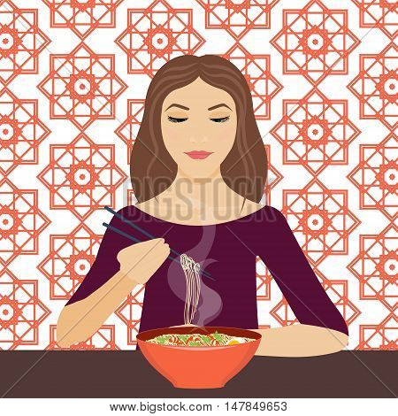 Vector illustration of a young woman eating noodle soup with chopsticks in a restaraunt. Dinner time. Eating. Vector background is made in Chinese geometric style. Chinese cuisine.